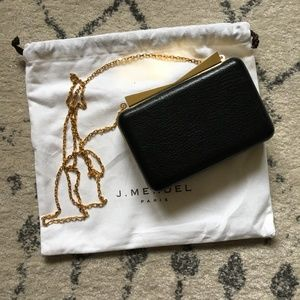 J. Mendel Hard case clutch with gold chain